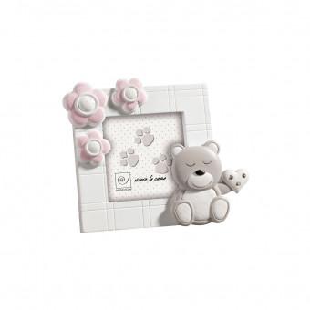 Детская фоторамка с мишкой и розовыми цветами