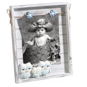 Детская фоторамка Совушки, голубая