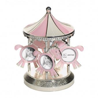 Музыкальная мультирамка карусель, розовая