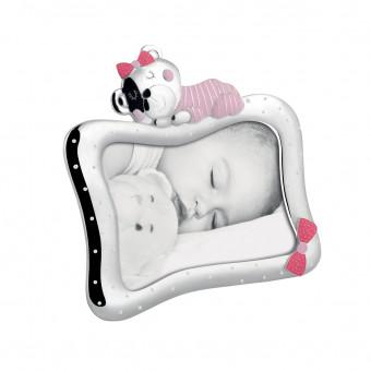 Детская фоторамка с мишкой и бантиком, 13х18 см