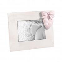 Детская фоторамка с розовым бантиком и сердечками