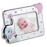 Детская фоторамка Слоник, розовая
