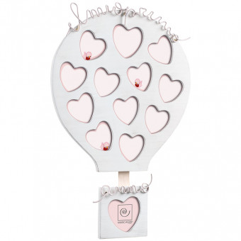 Фоторамка на 12 фотографий для ребенка Воздушный шар, розовая