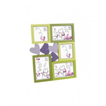Детская мультирамка с сердечками на 5 фото, салатовая