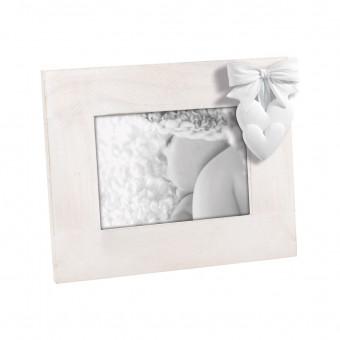 Детская фоторамка с белым бантиком и сердечками