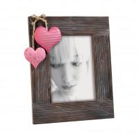 Фоторамка с розовым сердцем, венге