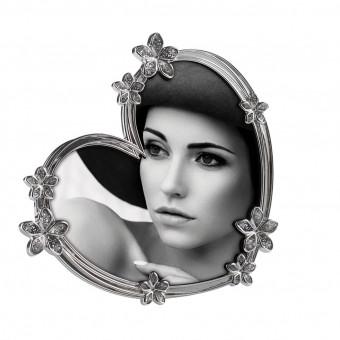 Фоторамка Цветы в виде сердца с элементами Swarovski