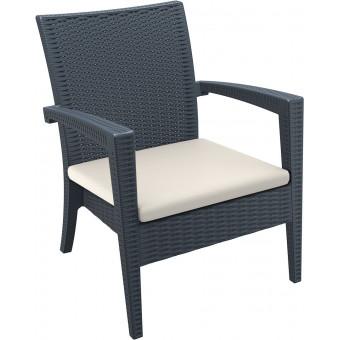 Кресло пластиковое плетеное с подушкой Miami Lounge