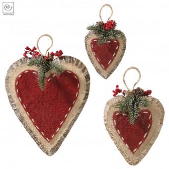 Новогодний декор 3 сердца разных размеров