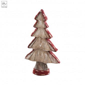 Новогодний декор Рождественское дерево в красной окантовке, 29 см