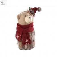 Новогодний декор Медведь в шляпке и шарфе, 25 см