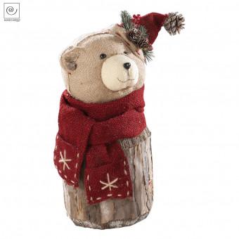 Новогодний декор Медведь в шляпке и шарфе, 38 см