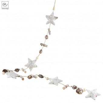 Новогодний декор гирлянда Кружевные звезды и бусины, 150 см