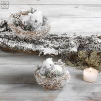 Новогодний декор 2 птицы в гнездах