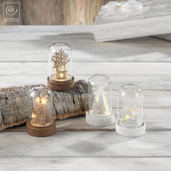 Новогодний набор из 12 стеклянных куполов с деревянными украшениями
