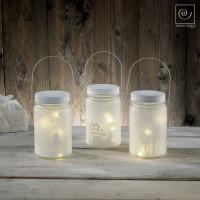 Новогодний набор из 3 стеклянных фонарей