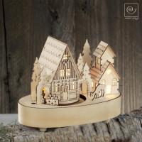 Новогодний декор музыкальная шкатулка Город