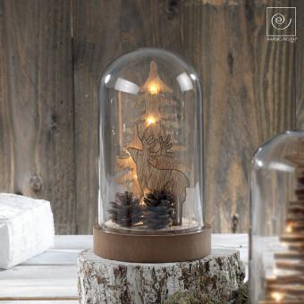 Новогодний декор Олень и шишки в стеклянном куполе