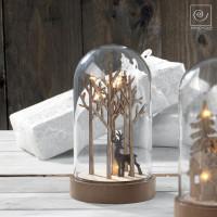 Новогодний декор Олень в лесу в стеклянном куполе