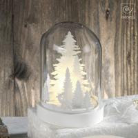 Новогодний декор Белоснежный лес в стеклянном куполе