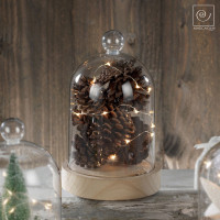 Новогодний декор Шишки в стеклянном куполе, 22 см