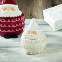 Новогодняя банка для печенья белый Дед мороз, 16 см