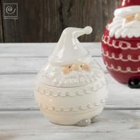 Новогодняя банка для печенья белый Дед мороз, 18 см