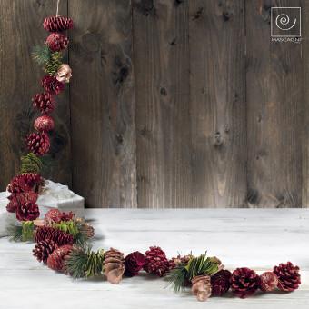 Новогодний декор гирлянда из  красных шишек, 160 см