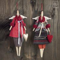 Новогодний набор ассорти 2 тканевых ангела с сердечками, 47 см