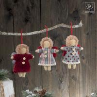 Новогодний набор елочные игрушки 3 тканевых ангела, 15 см