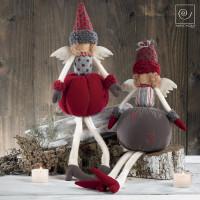 Новогодний набор 2 тканевых ангела в шапочках, 50 см