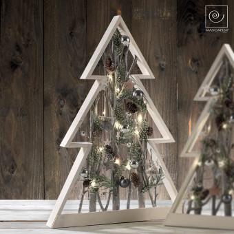 Новогодний декор Деревянная рождественская елка с подсветкой, 57 см