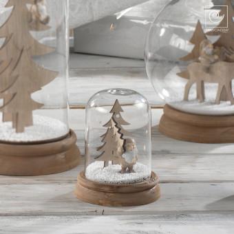 Новогодний декор стеклянный купол Гномик с елками