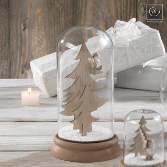 Новогодний декор стеклянный купол Гномик сидит на елке