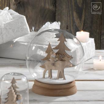 Новогодний декор стеклянный купол Гномик на олене