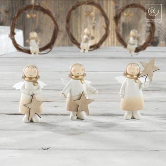 Новогодний набор 3 маленьких ангела со звездами