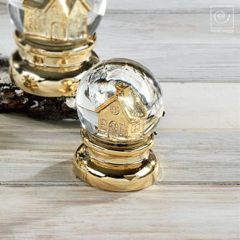 Новогодний декор Золотой домик в снегу, 11 см