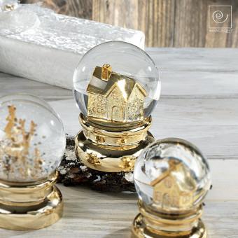 Новогодний декор Золотой дом со снегом, 13,5 см