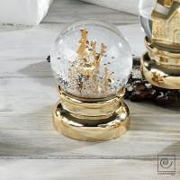 Новогодний декор Золотой олень в снегу, 13,5 см