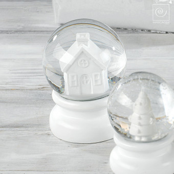 Новогодний декор Белый стеклянный шар со снегом, 13,5 см