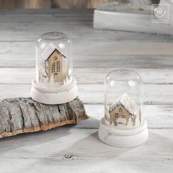 Новогодний набор из 2 стеклянных куполов с домиками