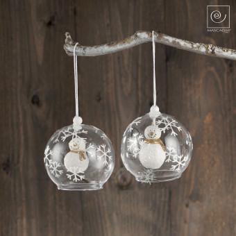 Новогодний декор 2 стеклянных шара со снеговиками
