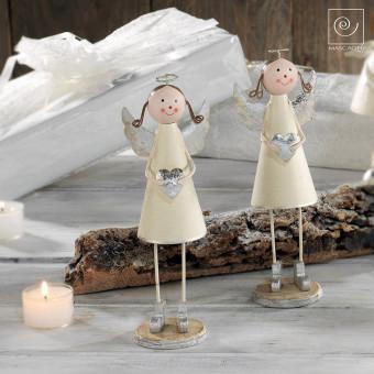 Новогодний набор 2 девочки ангела с сердечками