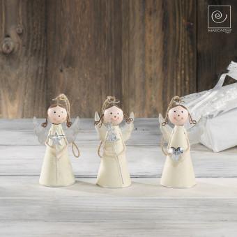 Новогодний набор елочные игрушки 3 металлических ангелочка