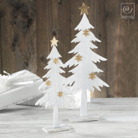 Новогодний набор 2 белоснежные ели со звездами