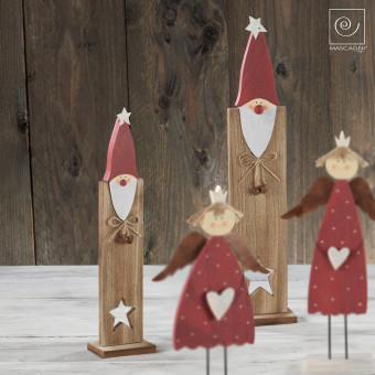 Новогодний набор 2 деревянных Санта-Клауса