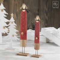 Новогодний набор 2 красных ангела со звездочками