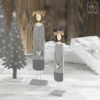Новогодний набор 2 серых ангела с сердечками