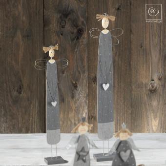 Новогодний набор 2 серых деревянных ангелов