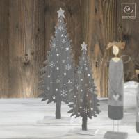 Новогодний набор 2 серых деревянных ели